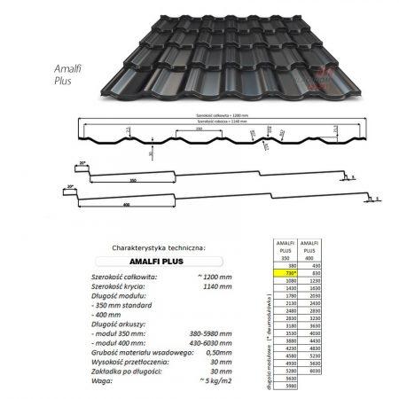 Amalfi Plus  0,40mm kétmodulos cserepes-lemez 1200mmx730mm