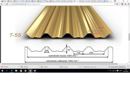 Trapézlemez T-55/0,50 mm Fényes poliester