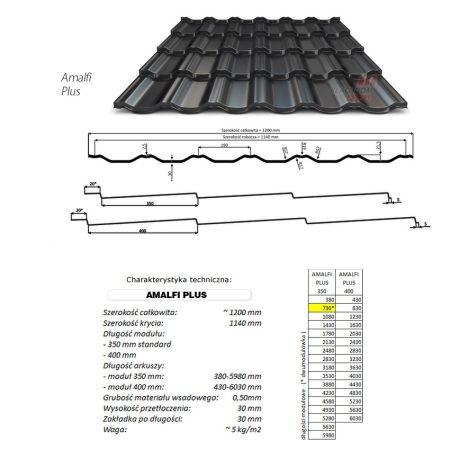 Amalfi Plus  0,50 mm kétmodulos cserepeslemez 1200mmx730mm